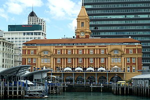 Auckland Ferry Terminal - The ferry building from the harbour