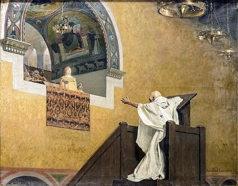 Jean-Paul Laurens (1838-1921): Johannes Krysostomos konfronterer keiserinne Eudoxia (1893)