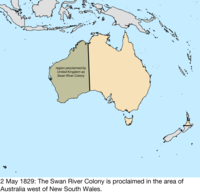 map of the change to the founding colonies of australia on 2 may 1829