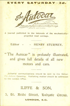 Autocar (magazine) - 1897 advert for Autocar