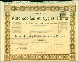 Hurtu - Share of the Compagnie des Automobiles et Cycles Hurtu, issued 15. March 1899