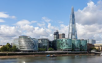Architecture of London - City hall by Norman Foster(2002) and the Shard (2012) by Renzo Piano .