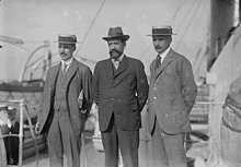 B.B. Blackett and Octave Homberg and Ernest Mallet in 1915 arriving in New York City to appeal for financial aid.jpg