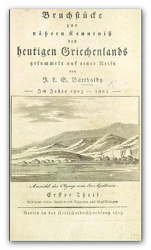 Jakob Salomon Bartholdy - BARTHOLDY: Bruchstücke einer Reise ... nach Griechenland