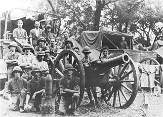 """BL 5.4-inch howitzer - Gun and crew, East Africa, 1916 or 1917. Photo courtesy of SANDF Archives, from Nöthling, C J (ed), """"Ultima Ratio Regum: Artillery History of South Africa"""" 1987"""