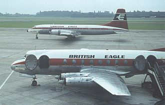 British Eagle - A British Eagle Britannia 312 (rear) and Viscount 701 at Manchester Airport, August 1964