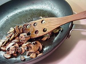 Sautéing - Image: Baby bella mushrooms being sautéed