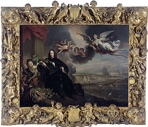 Apotheosis - The apotheosis of Cornelis de Witt, with the raid on Chatham in the background. The original by Jan de Baen, kept in the City Hall of Dordrecht, was destroyed in 1672.