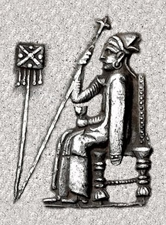 Bagadates I - Bagadates enthroned, wearing long cloak and kyrbasia, holding sceptre and cup. Achaemenid standard to left.