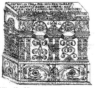Baldwin V of Jerusalem - Eighteenth century drawing of Baldwin V's tomb in the Church of the Holy Sepulchre, by Elzear Horn. (Vatican Library)