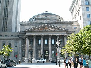 Economy of Quebec - Bank of Montreal headquarters in Old Montreal's Place d'Armes