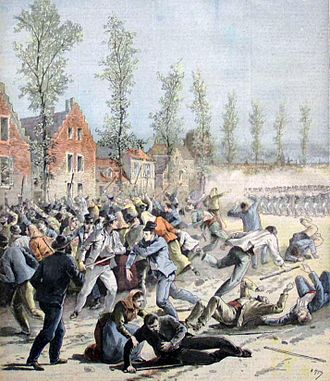 Belgian general strike of 1893 - Troops of the paramilitary Garde Civique fire on strikers near Mons on 17 April 1893