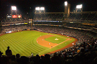 Baseball field - The baseball diamond of the San Diego Padres' Petco Park, seen from the left field stands.