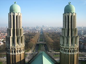 Basilica of the Sacred Heart, Brussels - Two Art Deco towers and Leopold II Boulevard.