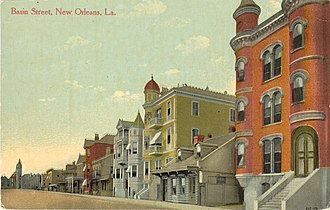 Lulu White - High end brothels along Basin Street in the early 1900s; Mahogany Hall is at far right.