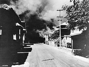 Bataan - March 1942: burning houses after a Japanese bombing raid in Bataan