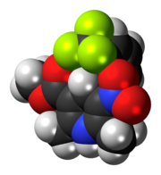 Space-filling model of the bay K8644 molecule