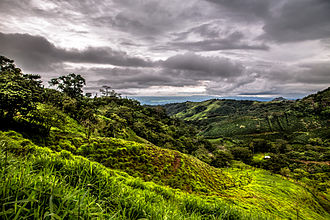 Atenas - Pasture lands with Nicoya Peninsula in the background as seen from Estanquillos
