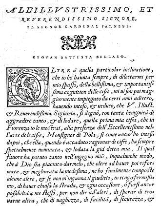 Giovan Battista Bellaso - Il vero modo di scrivere in cifra ... 1564. Foreword.