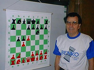 Pal Benko - Benko with the Benko Gambit position in 2005