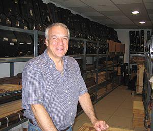Paulino Bernabe II - The luthier Paulino Bernabe II in his workshop). June 2012.
