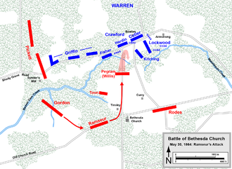 Battle of Totopotomoy Creek - Battle of Bethesda Church, Ramseur's attack