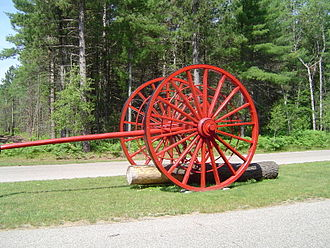 Michigan logging wheels - Genuine Overpack logging wheels were always painted red