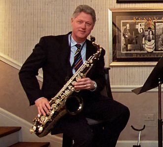 Bill Clinton - Clinton with his saxophone at the White House in 1996. He began playing the saxophone in elementary school. At one point, Clinton considered pursuing a career in music.