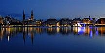 Hamburg--Fil:Binnenalster am Abend