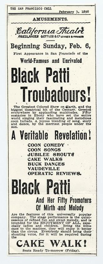 Matilda Sissieretta Joyner Jones - 1898 newspaper advertisement for the Black Patti Troubadours