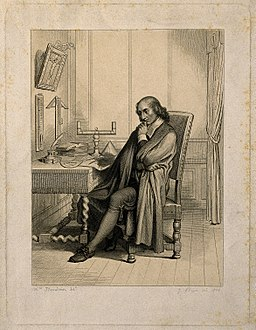 Blaise Pascal, seated at his desk. Line engraving by J. Bein Wellcome V0004515