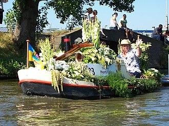 Bloemencorso - Boat float in flower parade in Westland