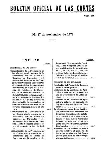 File:Boletín Oficial de las Cortes n 186, 17-11-1978.pdf