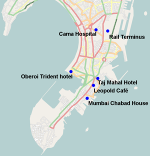 2008 Mumbai attacks - Locations of the 2008 Mumbai attacks