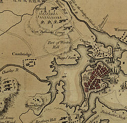 Rincian peta boston tahun 1775. dorchester heights di kanan bawah