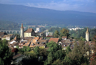 Boudry Place in Neuchâtel, Switzerland