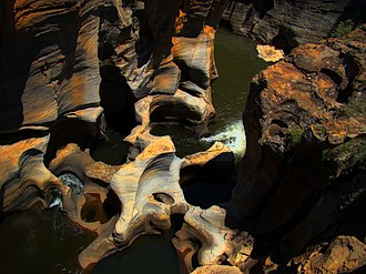 Giant's kettle - Bourke's Luck Potholes in the Blyde River Canyon of South Africa is the result of erosion caused by pebbles.