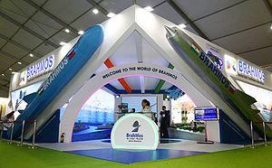 BrahMos Aerospace - BrahMos Aerospace stall at Defexpo 2016 in New Delhi.