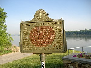 Kentucky in the American Civil War - Historical marker noting Morgan's activities at Brandenburg, Kentucky, where his forces captured two steamboats, the John B. McCombs and the Alice Dean, before crossing the Ohio River into Indiana