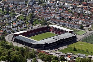 Scotland national football team 1920–39 results - Scotland played their first match outside the British Isles on 26 May 1929, when they played Norway at the Brann Stadion (pictured) in Bergen.