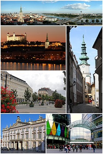 Bratislava - Bratislava Montage. Clockwise from top left: View of Bratislava from the castle, St. Michael's Gate in the Old Town, Eurovea shopping complex, Primate's Palace, Hviezdoslav Square, Bratislava castle and the Danube riverbank at night