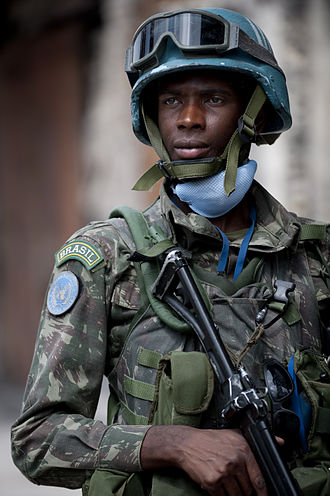 United Nations Stabilisation Mission in Haiti - Brazilian soldier stands security in Port-au-Prince
