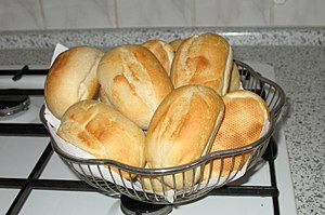 Bread rolls in a basket (deutsch: Brötchen im ...