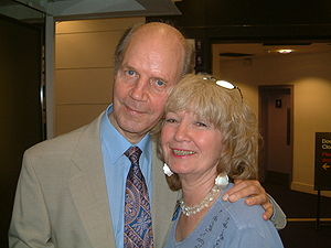 Julie Stevens (British actress) - Julie Stevens with Brian Cant at a Play School Reunion Event in 2004.
