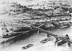 Davenport, Iowa - Aerial view of early Davenport c. 1800s (decade)