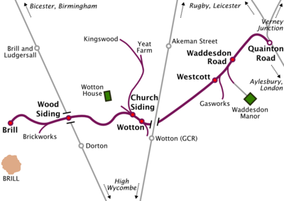 "Map of a railway line running roughly southwest to northeast. Long sidings run off the railway line at various places. Two other north-south railway lines cross the line, but do not connect with it. At the northeastern terminus of the line, marked ""Quainton Road"", the line meets three other lines running to Rugby & Leicester, Verney Junction, and Aylesbury & London respectively. The southwestern terminus, marked ""Brill"", is some distance north of the town of Brill, which is the only town on the map. A station on one of the other lines, marked ""Brill and Ludgersall"", is even further from the town of Brill."