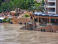Brisbane River Town Reach Riverwalk in flood from Story Bridge Fortitude Valley P1090896.jpg