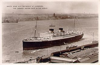MV Britannic (1929) - Britannic at Liverpool in the early 1930s