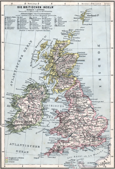 Die Britischen Inseln 1905