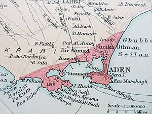 Colony of Aden - Map of British Aden, 1922